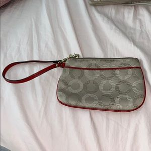 Coach beige & red wristlet( Authentic)